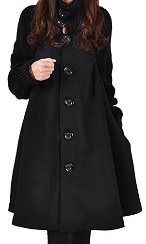 Papijam Women's Casual Wool Blend Single Breasted Swing Pea Coats Black (Blend Swing Coat)