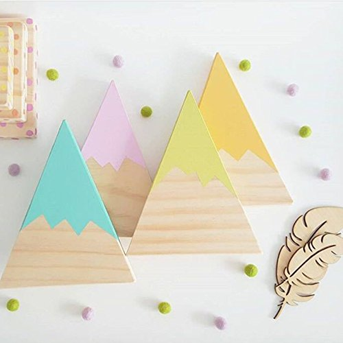 Gold Happy Nordic Top Woodland Wood Mountain Decorative Handmade Kids Bookends Home Decor Wooden Mountain Children's Room Decoration Blocks by Gold Happy (Image #2)