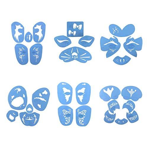 Fityle 6 Sets Men Women Plastic Reusable Body Art Face Paint Stencils Template for Birthday/Party/Costume/Fancy Dress/Stage -