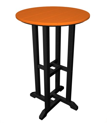 (POLYWOOD RRT224FBLTA Contempo 24-Inch Round Counter Height Table, Black Frame,)