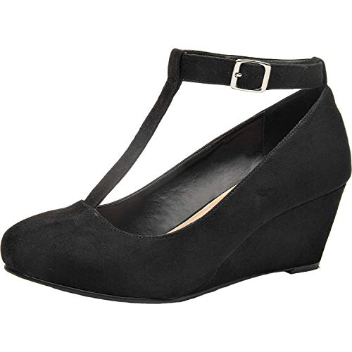(Luoika Women's Wide Width Wedge Shoes - Mary Jane Heel Pump with T-Strap. (Black 180310,10.5WW))