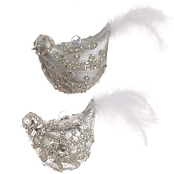 Silver Beaded Bird Ornaments