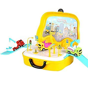Kids Boys Miniature Engineering Tools Case Plastic Pretend Play Car Truck Model Funny Toys Sets Yellow