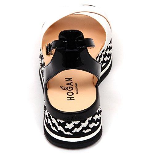 D0278 sandalo donna HOGAN fasce incrociate nero/bianco sandal shoe woman bianco/nero
