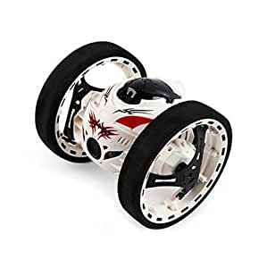 Leegor SJ88 2.4Ghz RC Wireless Remote Control Bounce Cars Shock Resistance Flexible Wheels Speed Switch Jumping Stunt Auto Birthday Present (White)