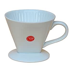 Mecraft White Ceramic Pour Over Coffee Dripper,Single-Serving Brewing,Giftbox