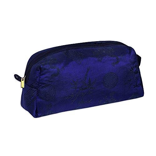 - Cosmetic Bag - Silk Jacquard (Cobalt Blue)