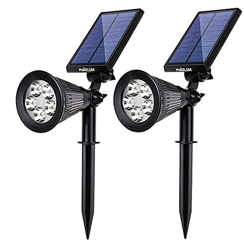 Outdoor Solar in-Ground Lights,MUIZLUX Waterproof 5LED Spotlight Adjustable Wall Light Landscape Security Lighting Dark Sensing Auto On/Off for Patio Deck Yard Garden Driveway Pool Area(2 Pack)