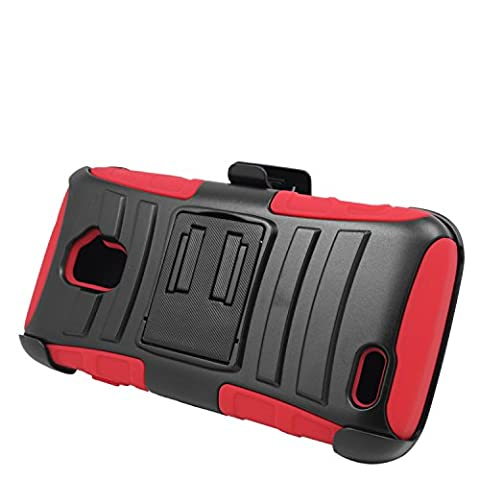 Eagle Cell Hybrid Protective Case Stand with Belt-Clip Holster for ZTE Rapido LTE Z932L - Retail Packaging - (Zte Rapido Phone Cases)
