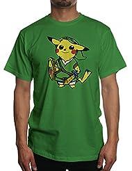 Young Motto Men's Pokemon Pikachu Zelda T-Shirt