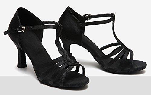 Tda Mujeres T-strap De Tacón Alto Sexy Weave Estilo Satén Salsa Tango Samba Zapatos De Baile Latino Moderno 7.5 Cm Negro