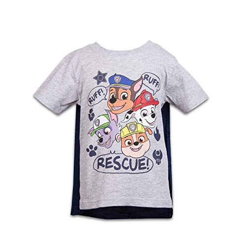 Nickelodeon Paw Patrol Boys Cape Shirt Paw Patrol Cape Tee - Chase, Marshall, Rocky & Rubble (Grey, 4T)