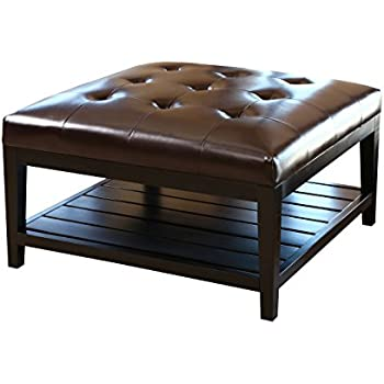 Abbyson® Villagio Tufted Leather Square Coffee Table Ottoman, Dark Brown