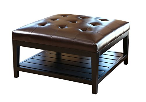 Abbyson Villagio Tufted Leather Square Coffee Table Ottoman, Dark Brown (Coffee Ottoman Table Leather With Shelf)