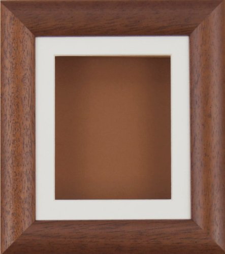 BabyRice Deep Box Display Frame for 2D 3D Art Objects Medal Keepsake Baby Casts 1st Bootees Flowers Dark Wood / Cream Mount / Brown backing