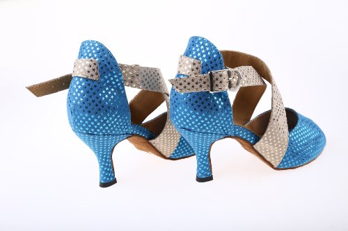Abby Q-6116 Dames Latin Schoenen Ballroom Dansfeest 3 Wijd Uitlopende Hak Blauw