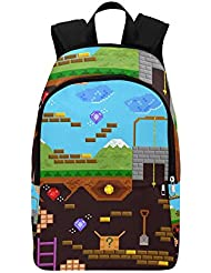 Happy More Custom Retro Style Bit Video Game Travel School Shoulder Fabric Backpack
