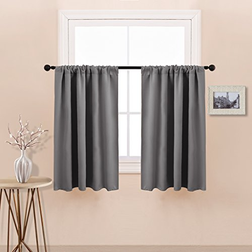 PONY DANCE Grey Blackout Curtain Tier Panels Rod Pocket Window Treatments Curtain Tailored Tiers/Valances for Kitchen, W 42
