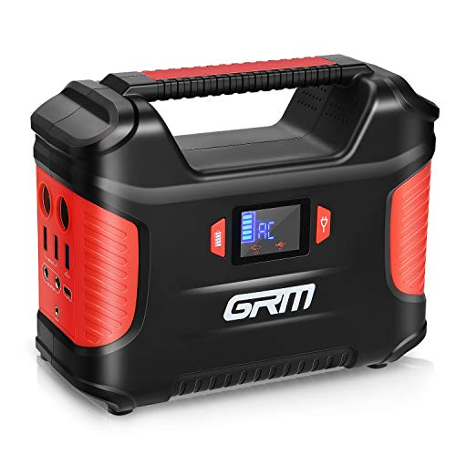 GRM Portable Power Station, 155Wh/42000mAh Solar Camping Generator Backup Battery Power Supply with 2 LED Flashlights, 8 Ports (QC3.0/Type-C Port Inclued) for CPAP Outdoors Travel Emergency