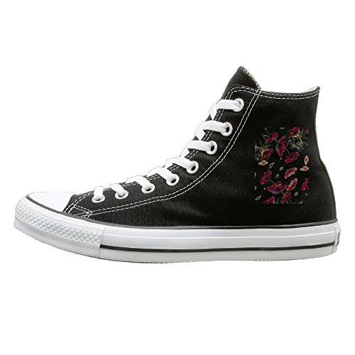 Shenigon Floating Flowers Canvas Shoes High Top Design Black Sneakers Unisex Style 41 -