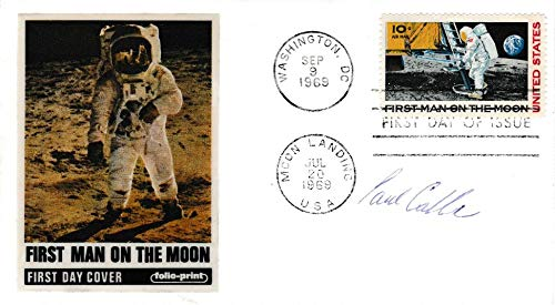 United States Scott C76 10c First Man on The Moon Airmail 1969 Washington, DC First Day of Issue with Moon Landing USA. Folio-Print Cachet Signed by Stamp Designer. Unaddressed.