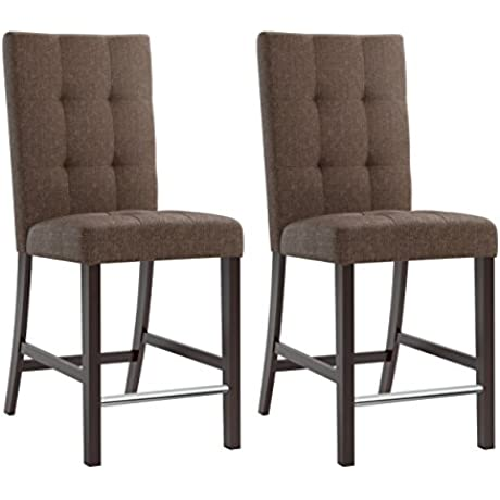 CorLiving Bistro Counter Height Chestnut Bark Brown Dining Chairs With Chrome Footrest 25 Seat Height Set Of 2