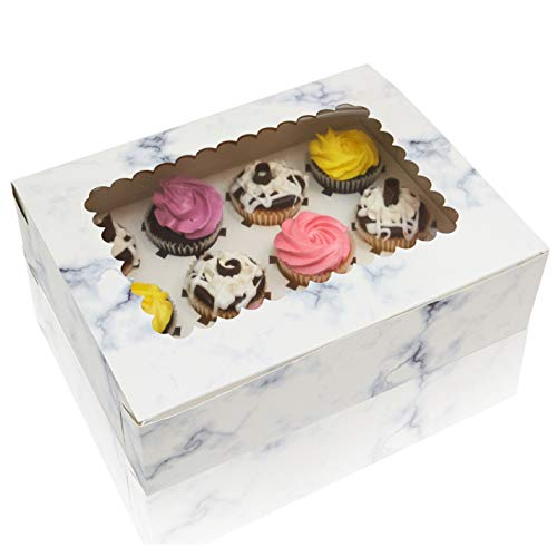 Cupcake Boxes With Window Display & Cup Cake Inserts For Cupcakes, Glossy Marble Design, Thick Sturdy Cupcake Box, 12 Pack
