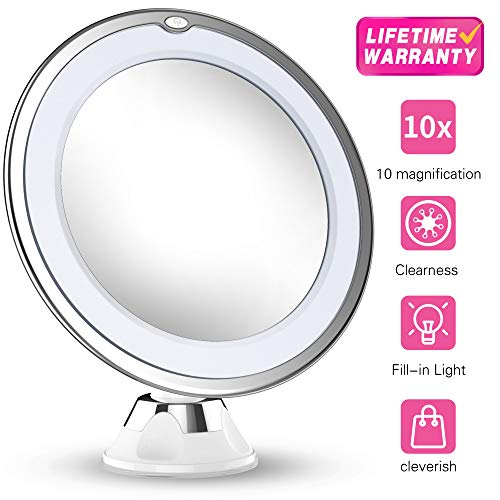 Updated 2019 Version 10X Magnifying Makeup Vanity Mirror With Lights, LED Lighted Portable Hand Cosmetic Magnification Light up Mirrors for Home Tabletop Bathroom Shower Travel ()