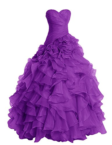 Damen Fanciest Kleider for Ruffles Ball Purple Kleider Organza Ball Quinceanera Burgundy OOrqd