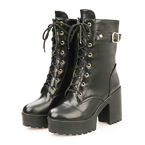 SaraIris Women's Chunky Heel with Platform Faux Fur Lined Lace up Military Mid Calf Boots Black