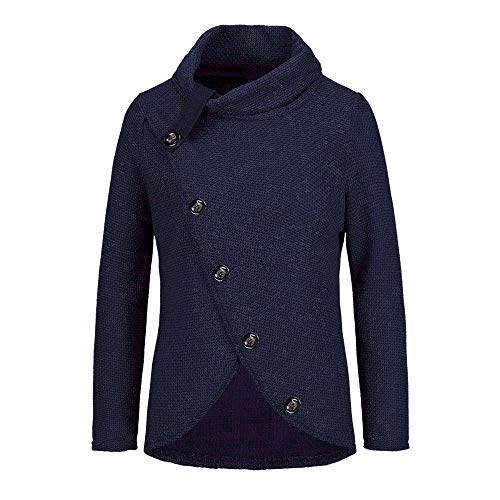 Women Turtleneck Sweater,BCDshop Long Sleeve Wrap Oblique Button Closure Sweatshirt Pullover Tops (Navy, M)