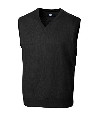 Cutter & Buck MCS01432 Mens Douglas V-Neck Vest, Black-XXXL