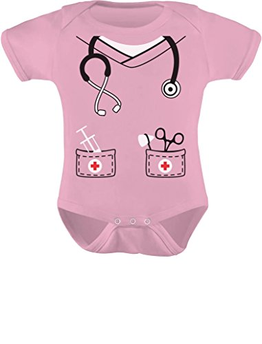 [Infant Doctor, Nurse, Physician Halloween Easy Costume Cute Baby Bodysuit NB Pink] (Cute Baby Boy Costumes Ideas)