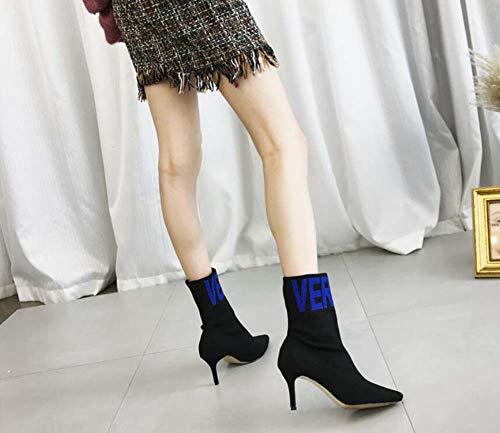 Ol Puntiagudas Lana Casual Elástica Blue Bota La Zapatillas 39 Vestir Tamaño Botas Color A 7cm 34 De Zapatos Mujeres Aguja Juego Ue Toe qw4EXEZa