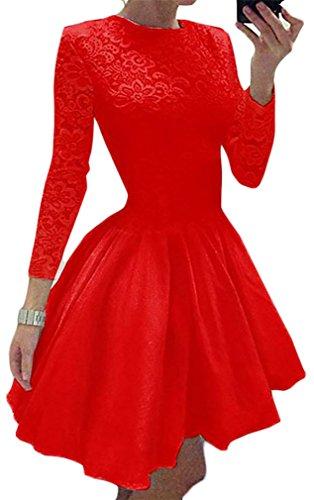 Increspato Vestito Cruiize Pizzo Lunga Manica Dall'oscillazione Casuale Rosso Girocollo Womens WxTnxZFrX