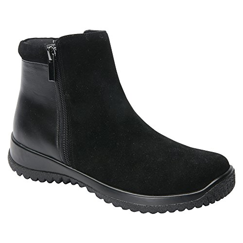 Trok Schoen Womens Kool Duurzaam Lederen Casual Laarzen Zwart Leer, Zwart Suede