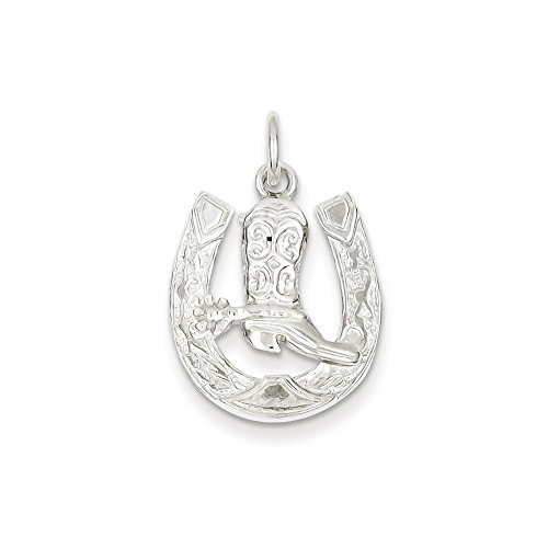 Mireval Sterling Silver Horseshoe with Boot Charm on a Sterling Silver Rope Chain Necklace, 20'' by Mireval (Image #1)