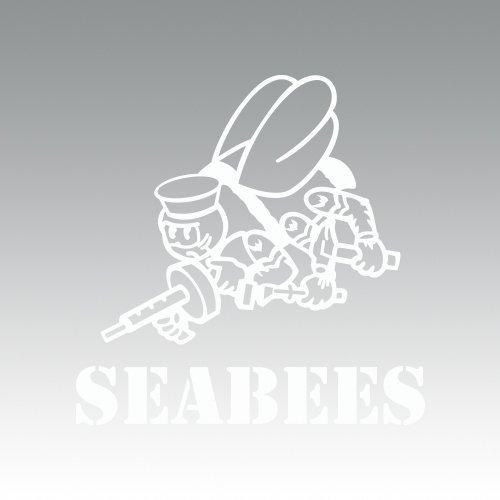 (RDW CB Seabees Sticker - Decal - Die Cut - White)