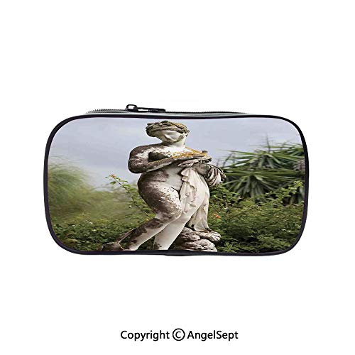 Sculptured Night Light - Big Capacity Pencil Case 1L Storage,Sculptured Figure Among Greenery on The Grounds of The Achillion Palace Corfu Island Green Beige 5.1inches,Desk Pen Pencil Marker Stationery Organizer with Zipper