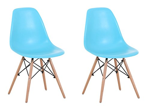 Creation Yusheng Eames Style Dining Chair with Natural Eiffel Base Wooden Leg Modern plastic Dining Side Chair, Blue, Set of 2