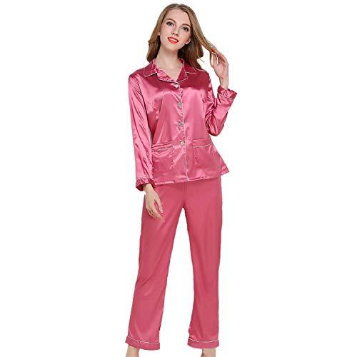 Women's Autumn Silk Long-sleeved Trousers Pajamas Set Turn Down Button Silk Home Wear Elastic Pocket Sleepwear ()