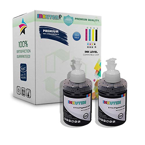 INKUTEN Set of 2 Refill Ink Kit 140ml T-2500 ET-2550 ET-4500 ET-4550 L100 L110 L120 L200 L210 L300 L350 L3Pigment for 774 T774 T7741 for Ecotank E55 L550 - Printer L200 Epson