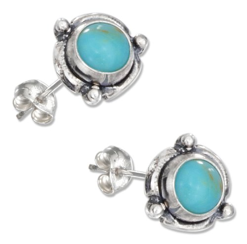 Sterling Concho - Sterling Silver Mini Flower Concho Turquoise Earrings on Posts