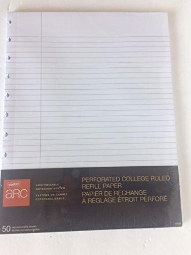 Staples ARC Customizable Notebook Perforated College Ruled Refill Paper, 11inch x 8.5inch by Staples