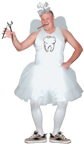 Fun World Men's Tooth Fairy Adult Costume, white, STD. Up to 6'/200 lbs.