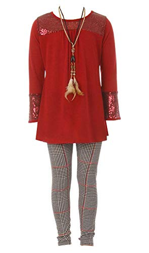 Little Girls Red 3 Pieces Long Sleeve Glitter Blouse Necklace Legging Pant Casual Set Size 6 (3 Piece Blouse)