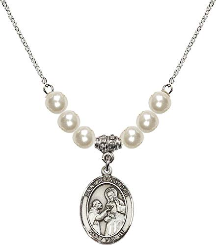 Bonyak Jewelry 18 Inch Rhodium Plated Necklace w/ 6mm Faux-Pearl Beads and Saint John of God Charm ()