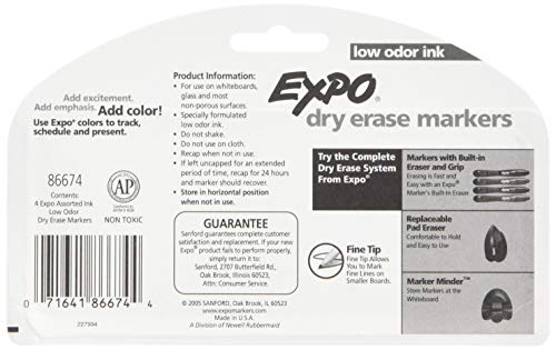 Expo Low Odor Dry Erase Pen Style Markers, 4 Colored Markers [86674] (Pack of 6) Total 24 Markers by Expo (Image #1)