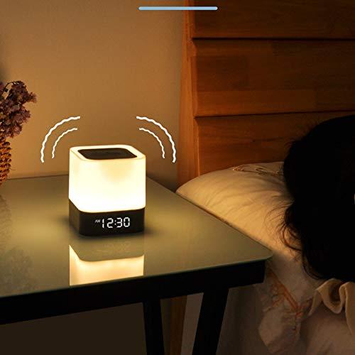 LWBUKK Inal/ámbrico Bluetooth Est/éreo Luz Nocturna Caja De M/úsica Despertador Dormitorio Luz De Despertador Junto A La Cama Despertar la luz incluida La Fuente De Luz
