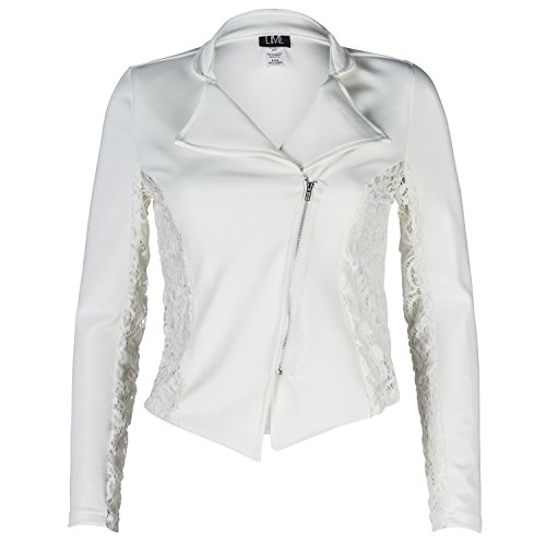 Contenta Women's Moto Blazer. Motorcycle Long Sleeve Contrast Side Zip Jacket. (x-small, ivory w (Party City Canada Careers)